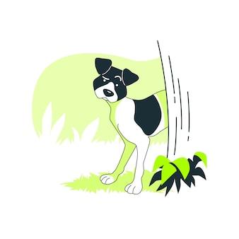 Voorzichtige hond concept illustratie