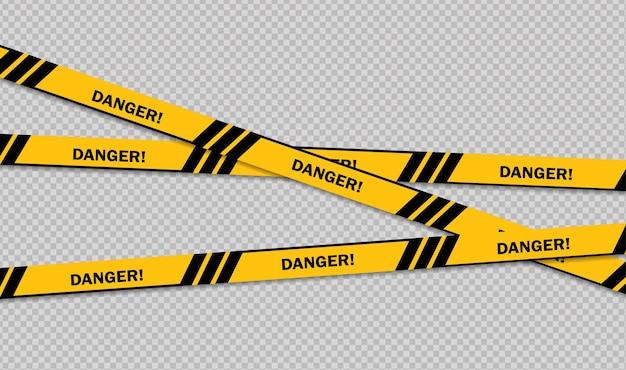 Voorzichtigheids- en gevarenlijn zwarte en gele waarschuwingspolitie tapes aandachtstekenlijn Premium Vector