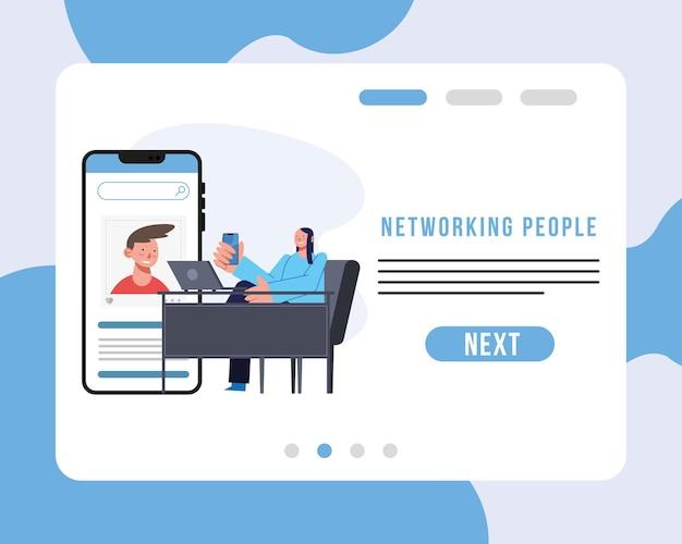 Voorzien van een netwerk van mensen en vrouw aan het bureau