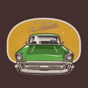 Voorzijde klassieke groene auto