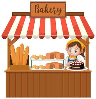 Voorzijde van bakkerijwinkel met bakker op witte achtergrond wordt geïsoleerd die