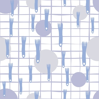 Vork en plaat hand tekenen naadloze patroon