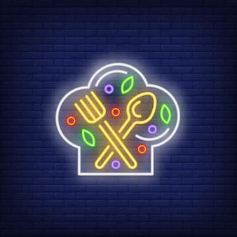 Vork, lepel en ingrediënten op hoofdletters neon teken