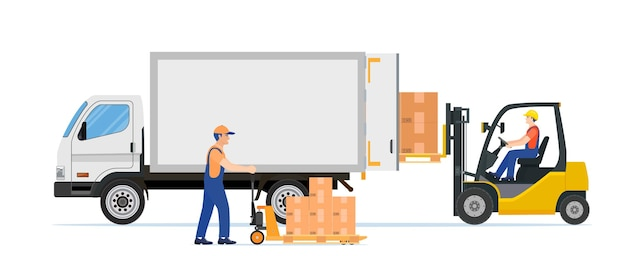 Vorkheftruck die palletboxen in vrachtwagen laadt.
