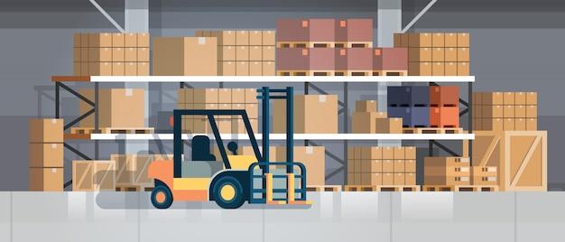 Vorkheftrucklader pallet stapelaar apparatuur magazijn interieur, rack box internationale levering concept vlak horizontaal