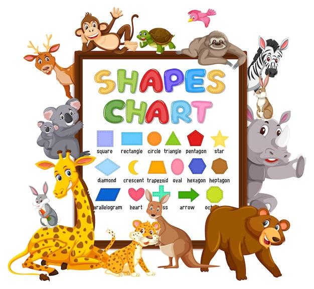 Vormen kaartbord met wilde dieren