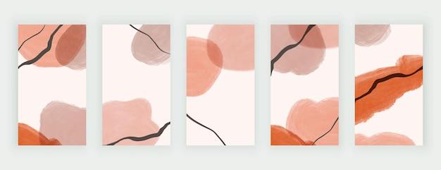 Vormen uit de vrije hand penseelstreek en zwarte lijnen voor verhalen op sociale media