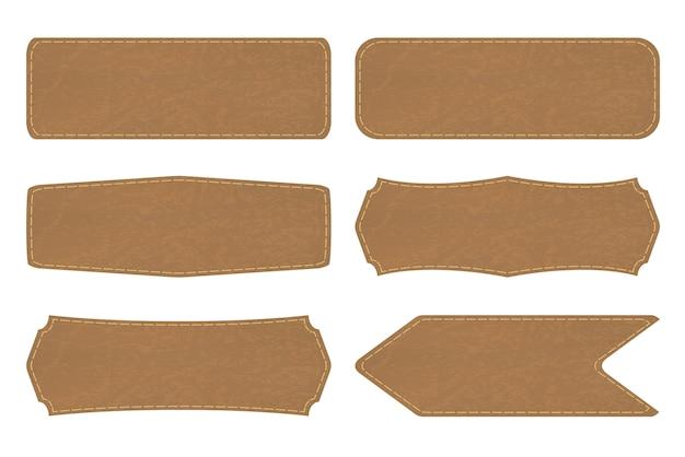 Vormen van leren bordlabels of lederen label instellen