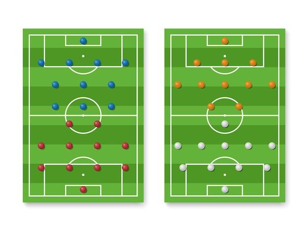 Vorming van voetbalopstelling en tactieken op het veld