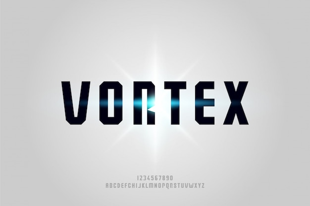 Vortex, een abstract futuristisch alfabetlettertype met technologiethema. modern minimalistisch typografieontwerp