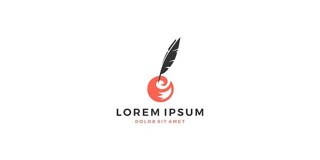 Vos staart veer inkt logo vector schrijver schrijven download