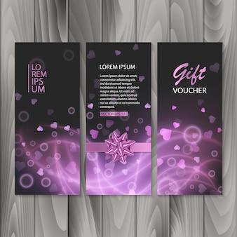 Voucher, cadeaubon. geschenkbanners, ontwerp met abstract roze licht
