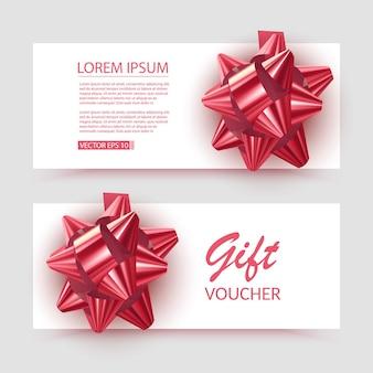 Vouchersjabloon met rode striklinten ontwerp bruikbaar voor cadeaubon voucher uitnodigingscertificaat