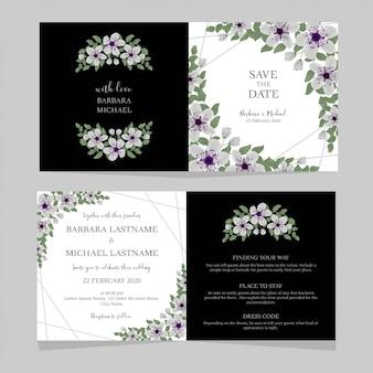 Vouw bloemenhuwelijksuitnodigingsmalplaatje