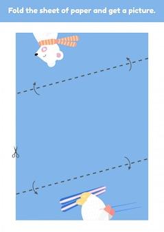 Vouw het vel papier en krijg een foto van een schattige witte beer op ski