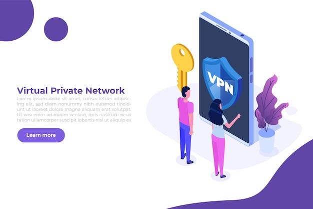 Vpn, virtual private network mobile-serviceconcept. bescherm persoonlijke gegevens in smartphone. vector illustratie
