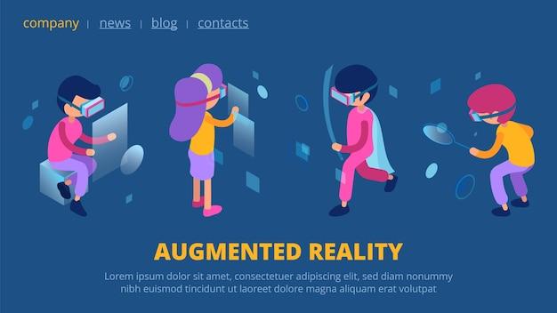 Vr-concept. webpagina met augmented reality-technologie. isometrische vectorkarakters met de bestemmingspagina van de vr-bril