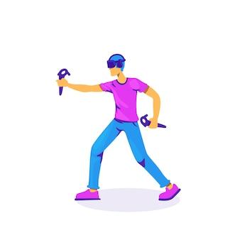 Vr-controllers voor het spelen van een egaal kleurloos karakter. mannelijke gamer met hoofdtelefoon. virtual reality-ervaring geïsoleerde cartoon afbeelding