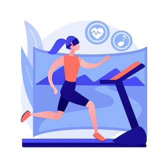 Vr fitness gym abstract concept vectorillustratie. virtual reality trainingssysteem, nieuwe fitnesstechnologie, geniet van je training, nieuwe manier om fit te worden, volledige onderdompeling, ervaar abstracte metafoor.