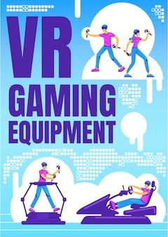 Vr-gamingapparatuur poster platte sjabloon. gebarenbediening voor futuristische gadget. brochure, boekje conceptontwerp van één pagina met stripfiguren. mixed reality-ervaringsvlieger, folder
