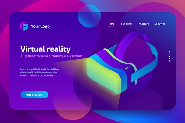 Vr-headset, virtuele augmented reality-bril. toekomstige technologie. isometrische illustratie op ultraviolette achtergrond