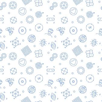 Vr-patroon met lineaire pictogrammen van de virtuele realiteit
