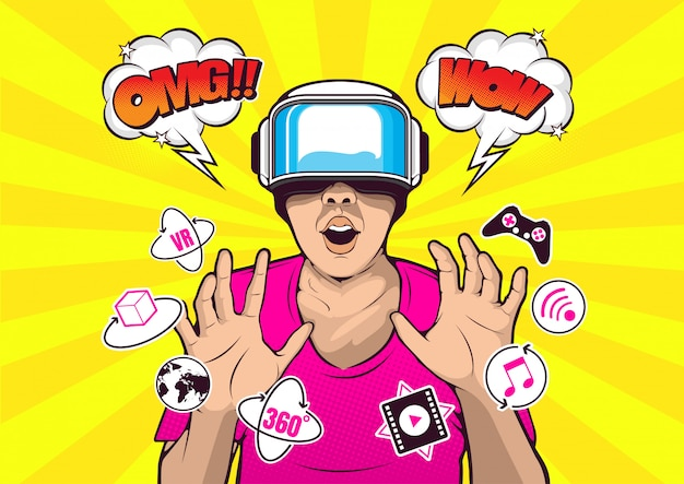 Vr virtual reality-bril pop-art