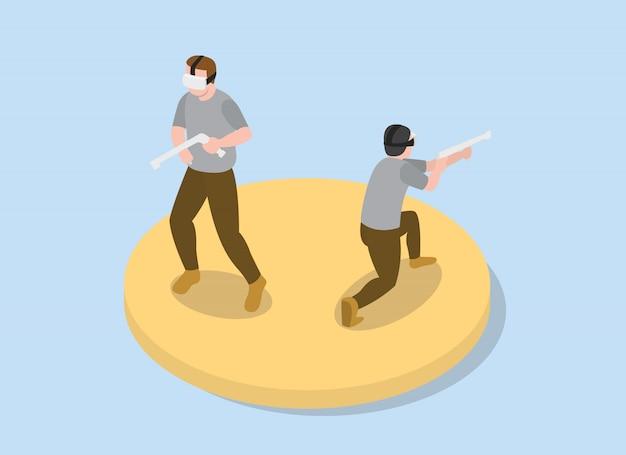 Vr virtual reality games shooter solider simulatie met isometrische moderne stijl -