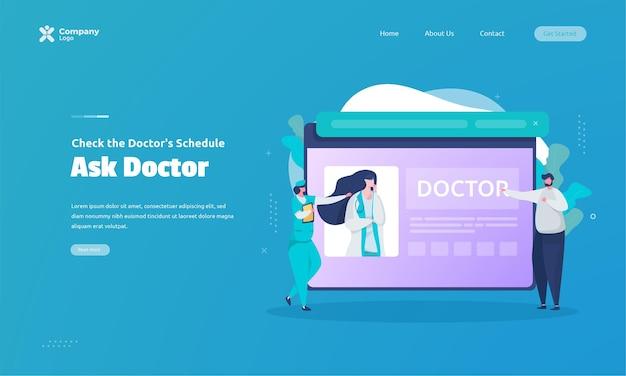 Vraag dokterspraktijk schema illustratie voor medisch concept