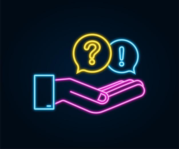 Vraag en antwoord bubble chat hangend over handen op witte achtergrond