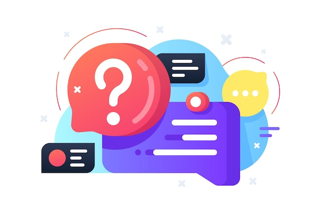 Vraag en antwoord illustratie. kleurrijke bellen met tekst en vraagteken vlakke stijl. communicatie en gesprek concept. geïsoleerd