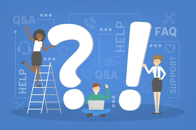 Vraag en antwoord serviceconcept. idee van klantenservice en technische ondersteuning. cliënten helpen met problemen. de klant voorzien van waardevolle informatie. set van pictogrammen voor ondersteuning. illustratie