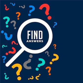 Vraag en antwoorden achtergrond met zoeksymbool