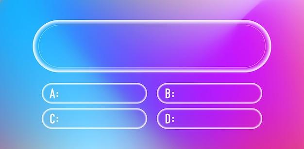 Vraag en antwoorden neon stijl vector sjabloon voor quiz game examen tv show school examen test