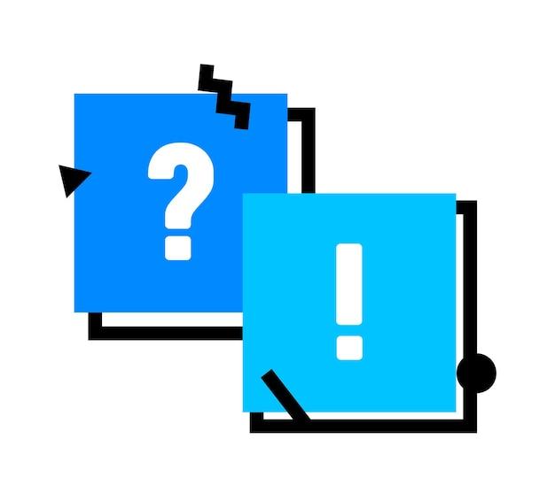 Vraag en uitroeptekens in blauwe vierkantjes. veelgestelde vragen tekenen voor webdesign, communicatie, discussie en chat concept voor infographic of media geïsoleerd op een witte achtergrond. vectorillustratie