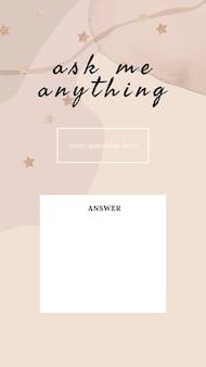 Vraag me iets social media verhaalsjabloon