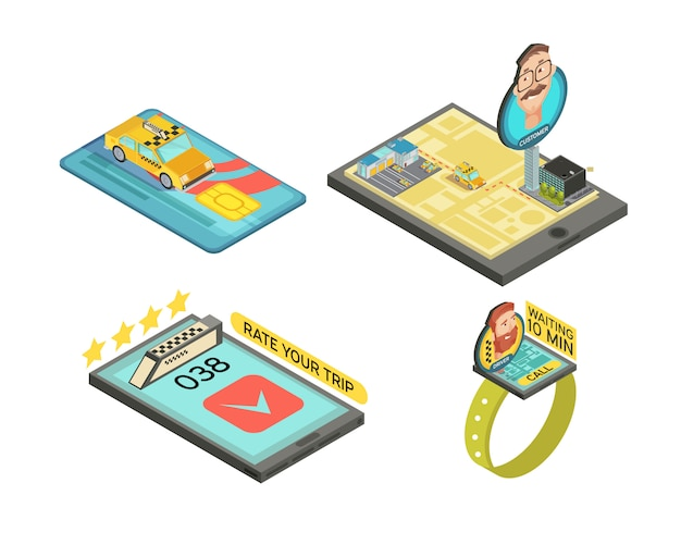 Vraag taxi door gadgets isometrische composities met auto reis rating betaling kaart wachttijd geïsoleerde vectorillustratie