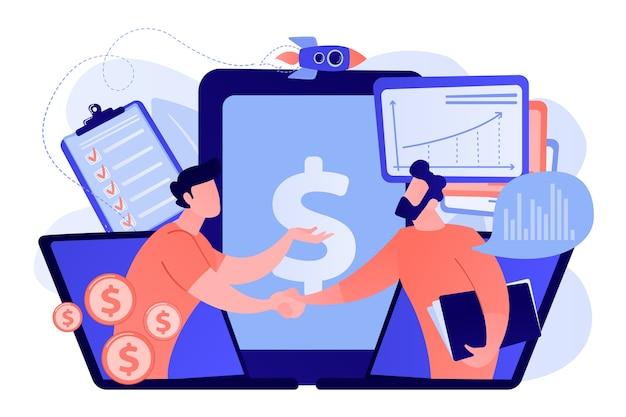 Vraaganalisten schudden elkaar de hand vanaf laptopschermen en plannen toekomstige vraag. vraagplanning, vraaganalyse, digitale verkoopprognose concept illustratie