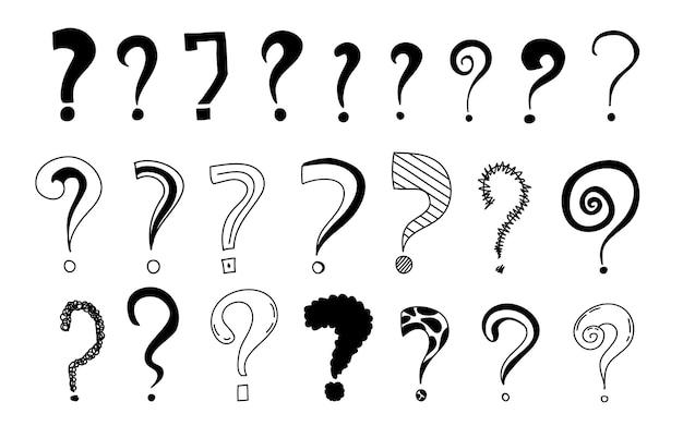 Vraagtekens creatieve zwarte vectorillustraties in doodle stijl.