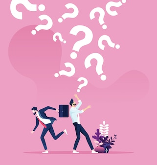 Vraagtekens die op een zakenman vallen. bedrijfs concept vector