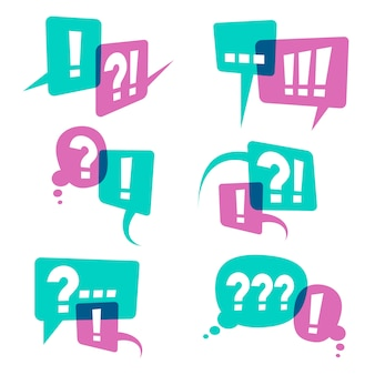Vraagtekens op spraak bubbels pictogrammen, bedrijfsquery concept