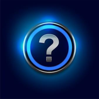 Vraagtekensymbool met blauwe lichtenachtergrond