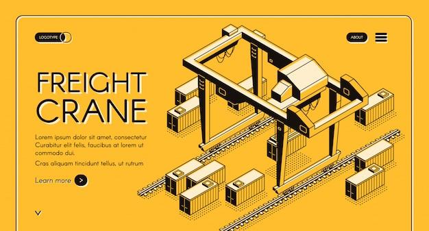 Vracht kraan webbanner met brugkraan verplaatsen op rails onder vrachtcontainers