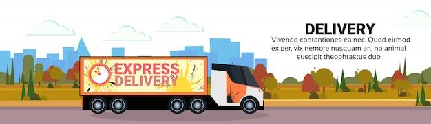 Vracht semi vrachtwagen levering transport internationaal transport scheepvaart industriële snelweg concept