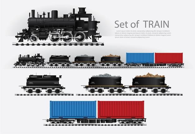 Vracht trein op een spoorweg vector illustratie