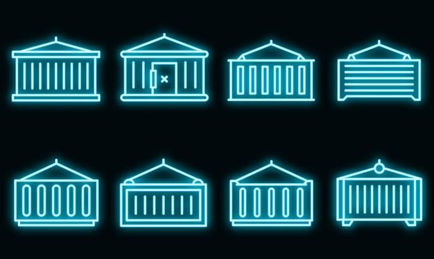 Vrachtcontainer pictogrammen instellen. overzicht set van vrachtcontainer vector iconen neon kleur op zwart