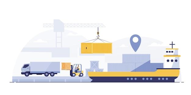 Vrachtlogistiek vrachtwagen en transport containerschip met werkende kraan import export transportindustrie.