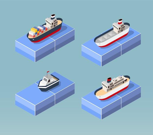 Vrachtschepen in perspectief. ontwerp voor de schepen instellen.