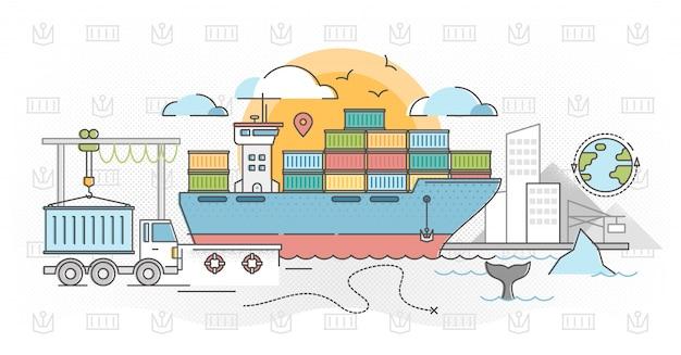 Vrachtschepen overzicht concept vectorillustratie