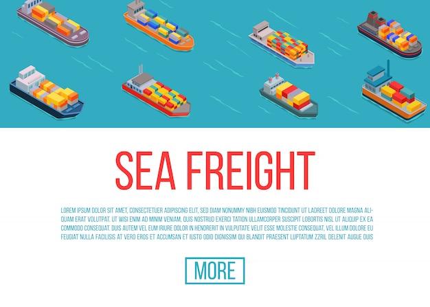 Vrachtschepen, verzending, levering zee vervoer op een blauwe achtergrond vector illustratie. levering zee vrachtwagen service. cartoon vrachtschepen website sjabloon.